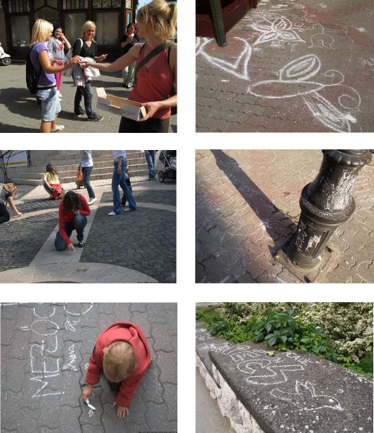 Tonka MALEKOVIC_Dispatchwork 2009 - distributing of chalk to passers-by, documenting the traces